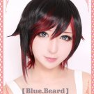 RWBY Red Trailer Ruby red mix black short cosplay wig + wig cap