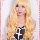 Touhou Project Kirisame Marisa Long Curly Blonde mix Cosplay wig 80cm