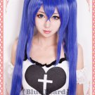 Fairy Tail Wendy Marvell Womens Long Blue Straight Cosplay Wig + Clip on Ponytails 100cm