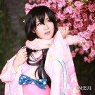 lovelive!Yazawa Niko long black unawakened kimono wafuku asymmetric anime cosplay wig