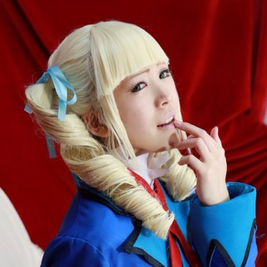 Aikatsu! Todo Yurika light yellow two pobytails anime cosplay wig