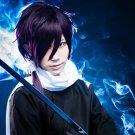 Hakuouki Shinsengumi Kitan Hajime Saito short black purple cosplay wig