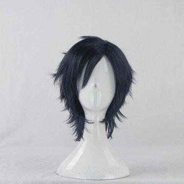 Furari no ken Ohkarakuri short black blue anime cosplay wig
