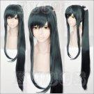 Furari no ken Taroutachi long dark green 100cm one ponytail anime cosplay wig
