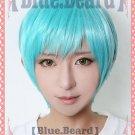 Furari no ken Ichigo Hitofuri short blue green anime cosplay wig