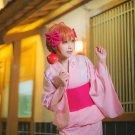Gekkan Shoujo Nozaki kun Sakura Chiyo kimono Updo style short orange Anime cosplay full wig