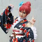 LoveLive! Nishikino Maki kimono bathrobe style red Bun anime cosplay wig