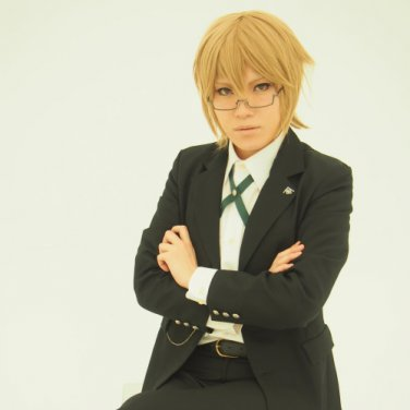 Dangan Ronpa Togami Byakuya short yellow white cosplay wig