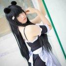 long straight black 100cm Maid cosplay wig