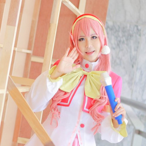 AKB0048 Orine Aida 80cm long pink curly anime cosplay wig