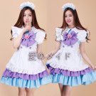 Japanese blue purple cosplay Costume maid Apron Dress Restaurant maid uniform