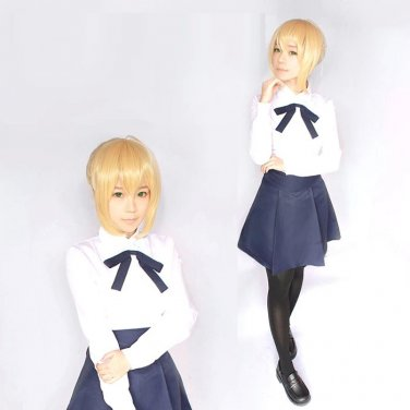 Fate stay night Saber anime cosplay costume uniform