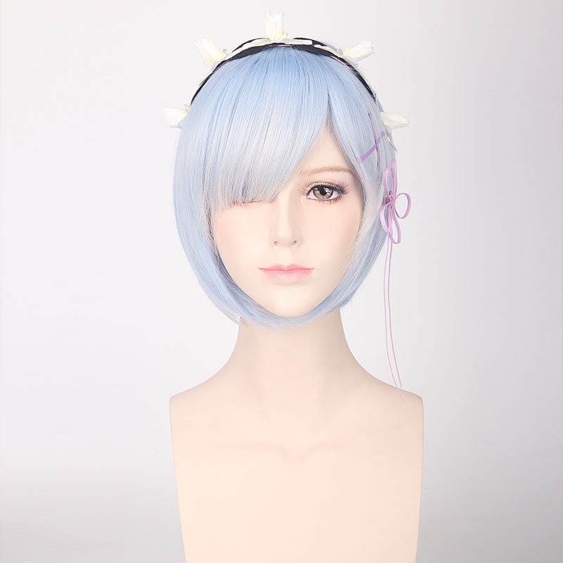Re:Life in a different world from zero Rem short blue mix cosplay wig + Hair hoop hair pin