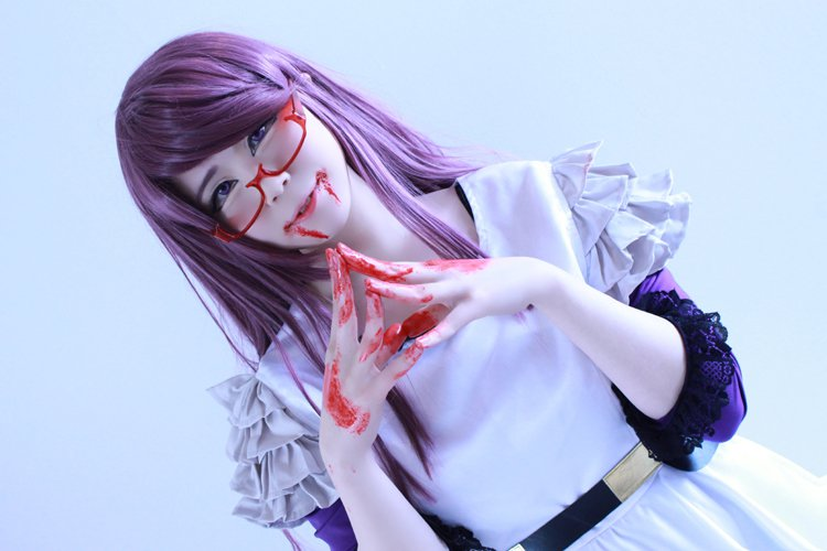 Tokyo Ghoul kamisiro rize 80cm purple mix cosplay wig
