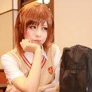 Toaru Kagaku no Railgun Misaka Mikoto short brown cosplay wig