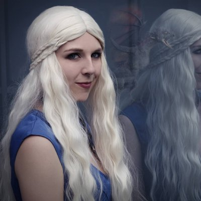 Daenerys Targaryen 70cm light blonde curly cosplay wig