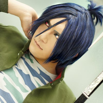 HITMAN REBORN! Rokudou mukuro short black blue cosplay wig