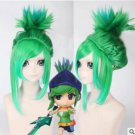 Riven the Exile green blue mix color cosplay wig