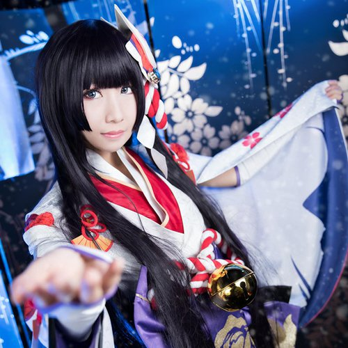 Onmyoji Xue Nv long 100cm black cosplay wig