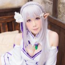 Re:Life in a different world from zero Emilia long silver white cosplay wig