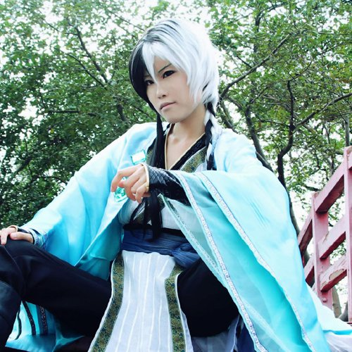 vocaloid Yuezheng Longya black white 120cm braid cosplay wig