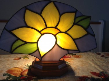 Stained Glass Sunflower Fan w/wood base & electric light