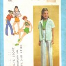 Vintage 1970&#39;s Girls Shirt Bias Halter Pants Shorts Simplicity 9051 Sewing Pattern Size 7