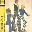 Vintage 1970&#39;s Boys Vest and Pants McCall&#39;s 3774 Sewing Pattern Size 12