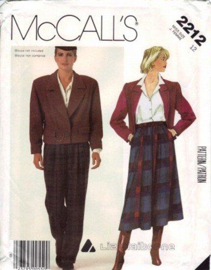 LIZ CLAIBORNE Misses Jacket Skirt Pants Suit UNCUT McCalls 2212 Sewing Pattern Size 12