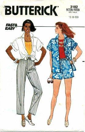 Butterick 3182 Shirt Shorts & Pants Size 6 - 10