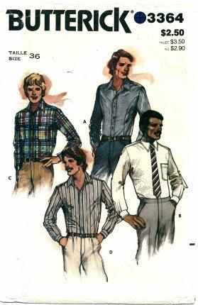 Butterick 3364 Mens Shirts Size 36