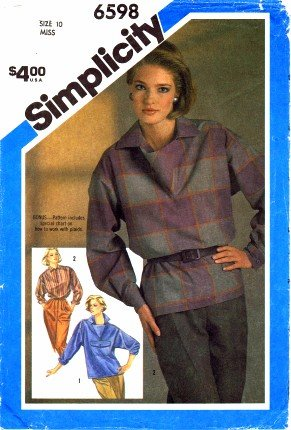 Simplicity 6598 Sewing Pattern Misses Shirt Size 10 - Bust 32 1/2