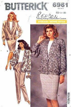 Butterick 6961 Sewing Pattern Jacket Skirt Pants Top Size 12 - 16 - Bust 34 - 38