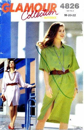 Butterick 4826 Sewing Pattern Misses Front Buttoned Dress Size 18 - 22 - Bust 40 - 44