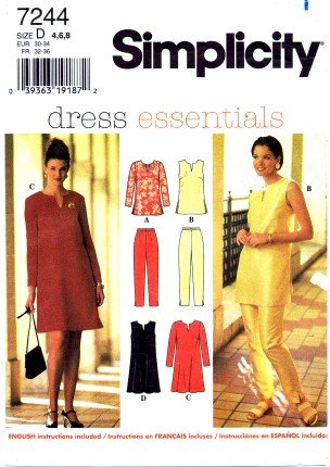 Simplicity 7244 Sewing Pattern Misses Tunic Dress Pants Bust 29 1/2 - 31 1/2