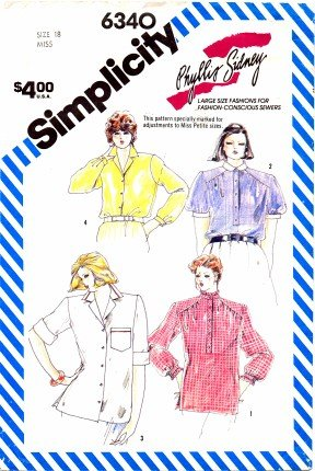 Simplicity 6340 Sewing Pattern Womens PHYLLIS SIDNEY Loose-Fitting Shirts Size 18 - Bust 40