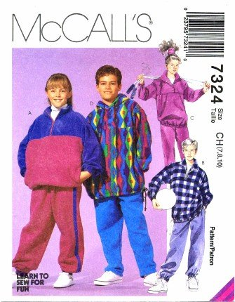 McCall's 7324 Sewing Pattern Boys & Girls Tops & Pull-On Pants Size 7 - 10