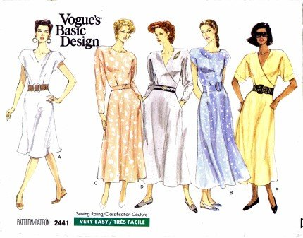 Vogue 2441 Sewing Pattern Misses Mock Wrap Flared Dress Size 8 - 12 - Bust 31 1/2 - 34