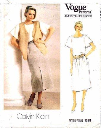 Vogue 1329 Sewing Pattern Calvin Klein Top Vest Skirt Size 8 - Bust 31 1/2