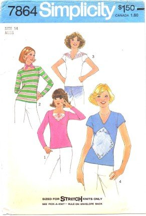 Simplicity 7864 Sewing Pattern Misses Pullover Tops Size 14 - Bust 36