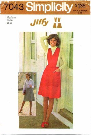 Simplicity 7043 Sewing Pattern Misses Short Skirt Jumper Detachable Bib Size 12 - 14 - Bust 34 - 36