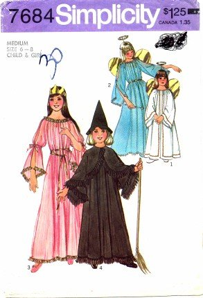 Simplicity 7684 Sewing Pattern Girls Angel Fairy Witch Princess Costumes Size 6 - 8