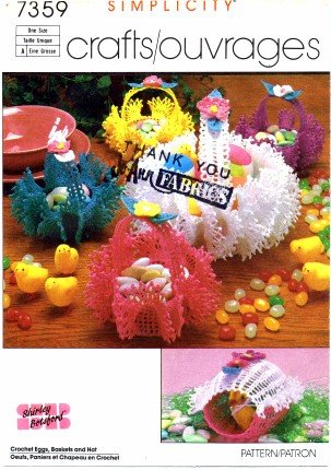 Simplicity 7359 Crochet Pattern Shirley Botsford Crochet Eggs Baskets Hat