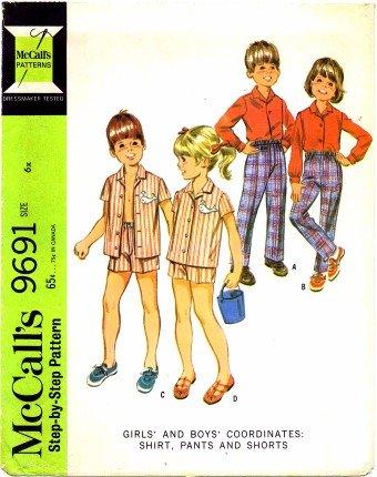 McCall's 9691 Sewing Pattern Girls & Boys Shirt Pants Shorts Size 6X
