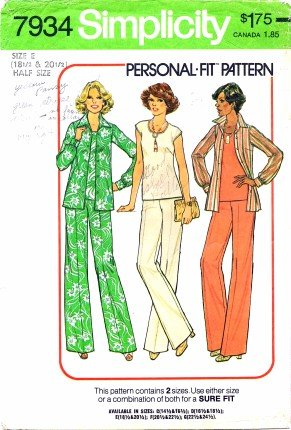 Simplicity 7934 Sewing Pattern Misses Wide Leg Pants Top Shirt Size 18 1/2 - 20 1/2 - Bust 41 - 43
