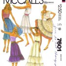 1980&#39;s McCall&#39;s 7601 Sewing Pattern Misses Boho Ruffle Skirts Size 10 - 12 - Waist 25 - 26 1/2