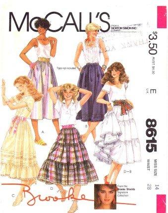1980's McCall's 8615 Sewing Pattern Brooke Shields Boho Ruffled Skirt Size 14 - Waist 28