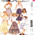1980's McCall's 8615 Sewing Pattern Brooke Shields Boho Ruffled Skirt Size 14 - Waist 28