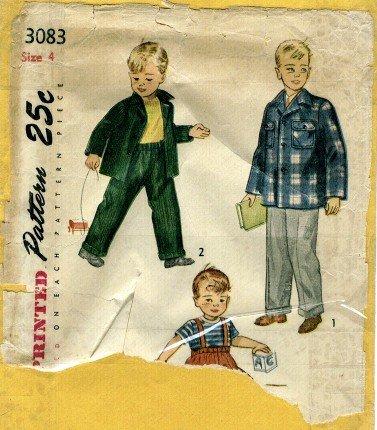 Vintage 1940's Simplicity 3083 Sewing Pattern Toddler Boys Slacks & Jacket Size 4