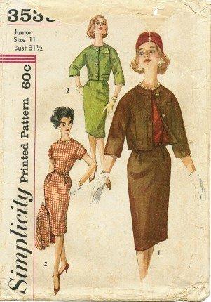 Vintage 1960's Simplicity 3535 Sewing Pattern Junior Misses Dress & Jacket Size 11 - Bust 31 1/2